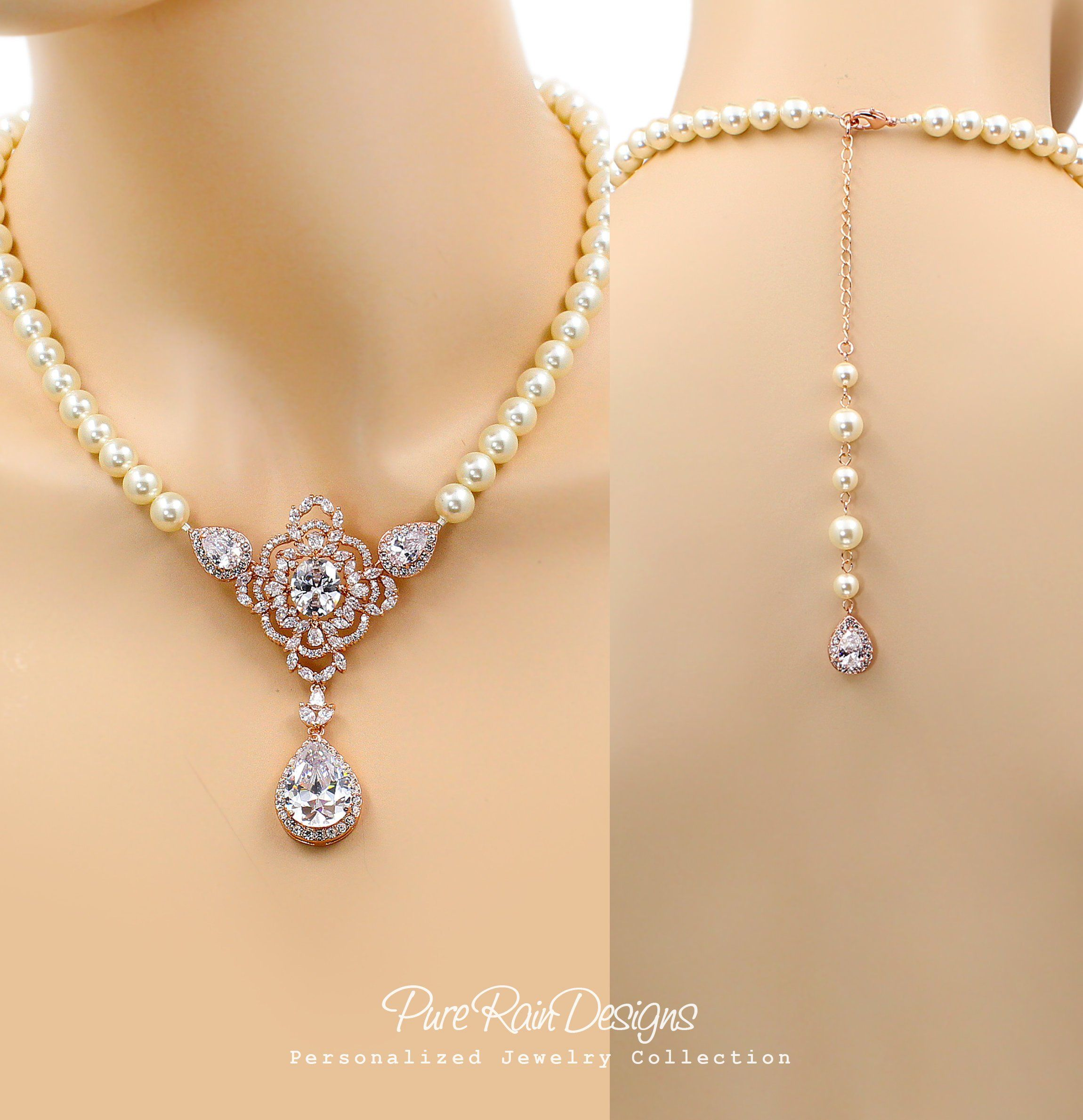 Wedding Necklace Earrings set Zirconia Rhinestone Backdrop Necklace Earrings set Wedding Jewelry set Wedding Accessory Bridal Jewelry Pazu