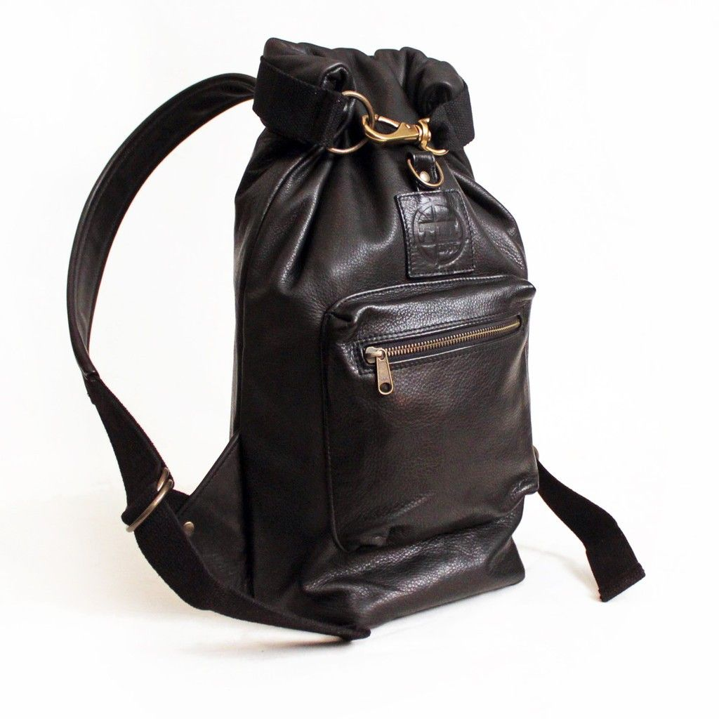 Roll-top Backpack in Black Leather