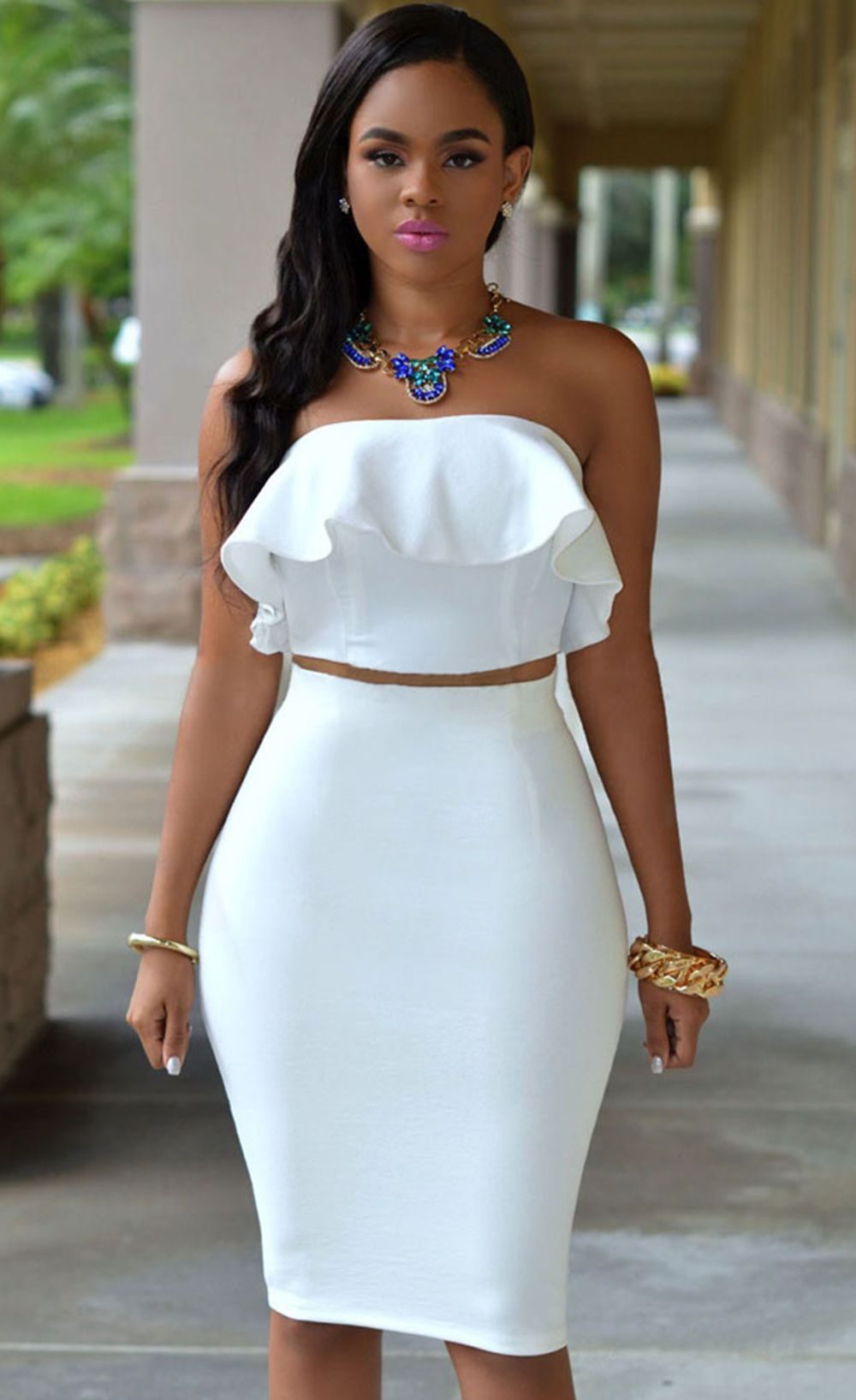 c24fb63e38b $29.99 Ruffle Two-piece Skirt Set | Event Slay | Dresses, White tube ...