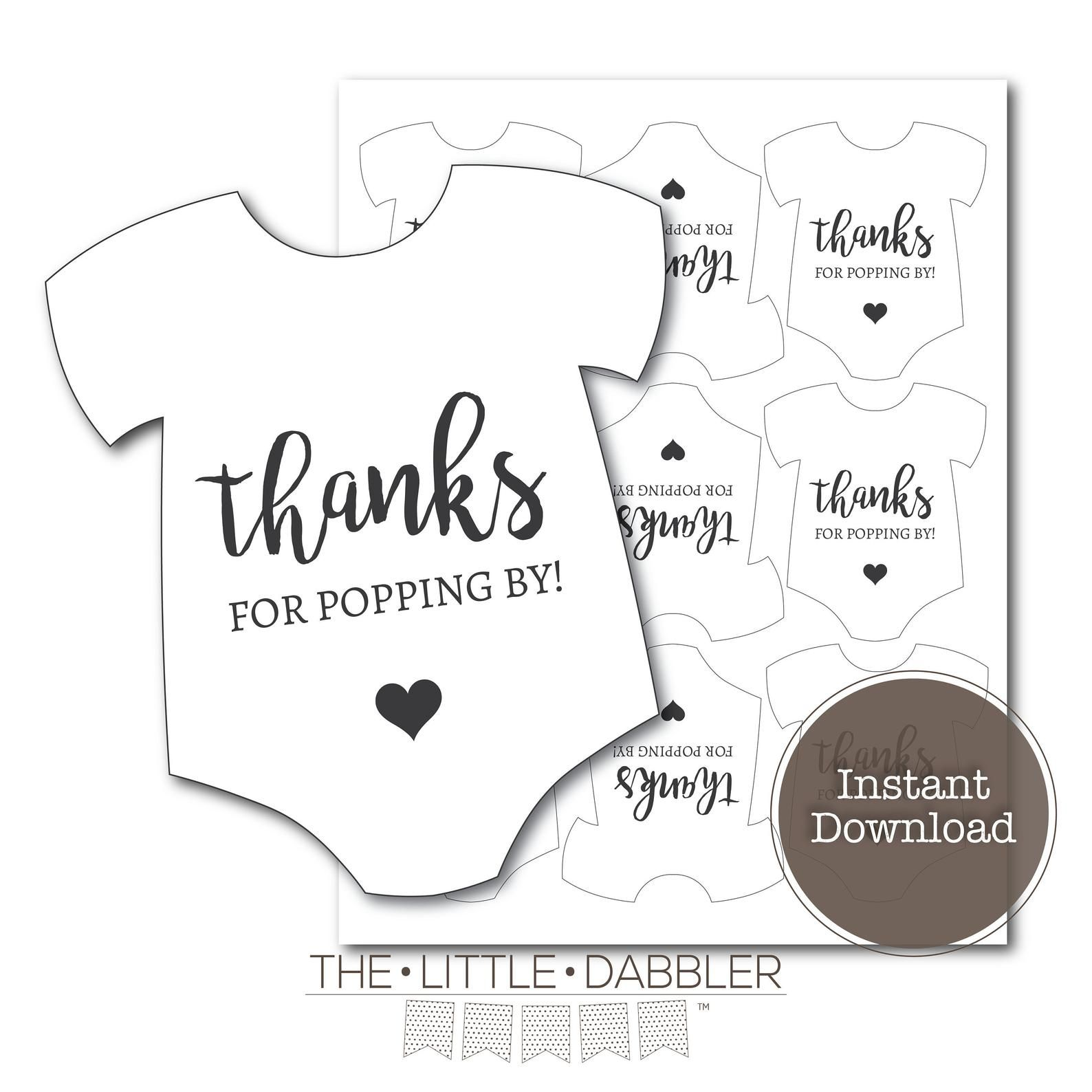 Thanks For Popping By Printable Baby Shower Mini Onesie Etsy Baby Shower Printables Baby Shower Favor Tags Baby Shower Thank You Cards Baby shower favor tags template