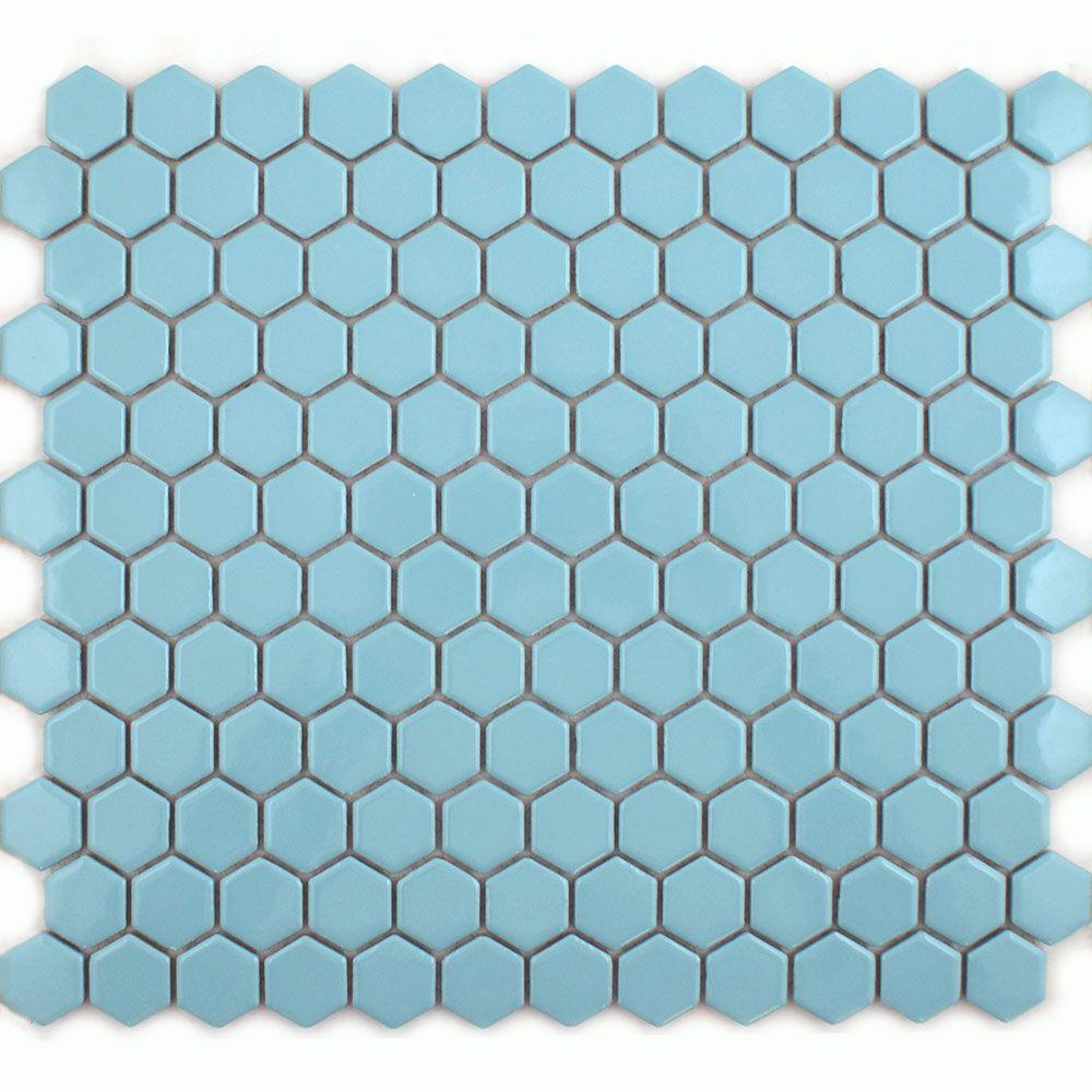 sky blue hexagon mosaic tiles