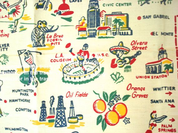 Vintage Los Angeles Map Tablecloth