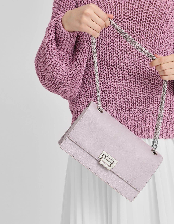 65fc9fab6bc6 Lilac Front Flap Push Lock Bag | CHARLES & KEITH | Bag | Bags ...