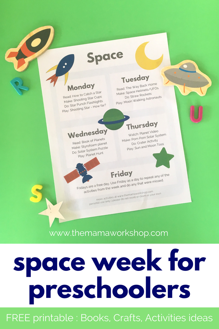 Space Week For Preschoolers Free Printable The Mama Workshop Space Lesson Plans Space Activities For Kids Printable Lesson Plans [ 1102 x 735 Pixel ]