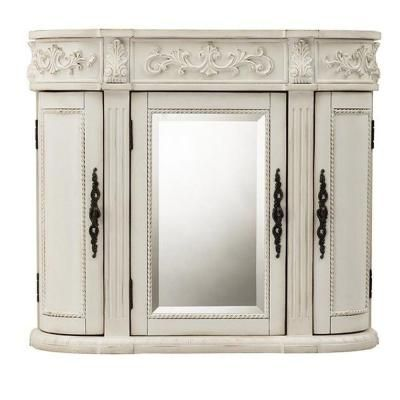 Home Decorators Collection Chelsea 31 5 In W Mirrored Wall Cabinet Antique White 1589900410 At The Depot