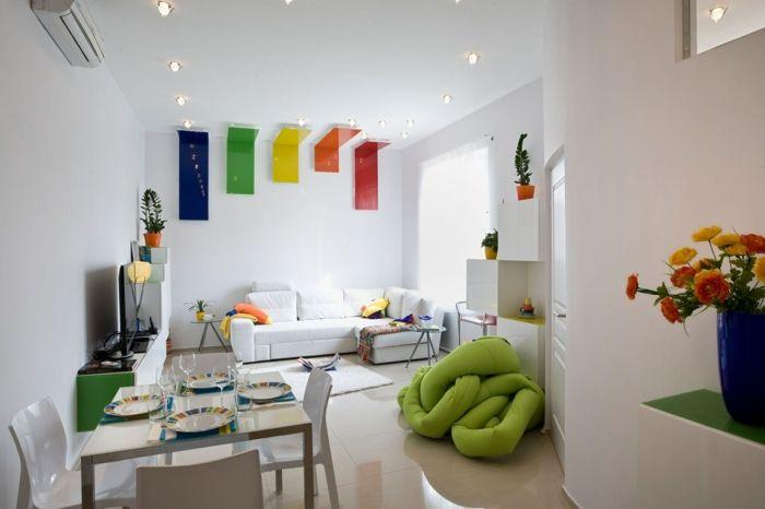 Farbige Küchenwände ~ Wohnzimmer wandgestaltung weiße wände farbige elemente offener
