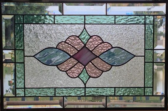 This Beveled Stained Glass Panel Window Is A Victorian Style Design Done In Pastel Colors T Hanging Stained Glass Stained Glass Patterns Stained Glass Designs