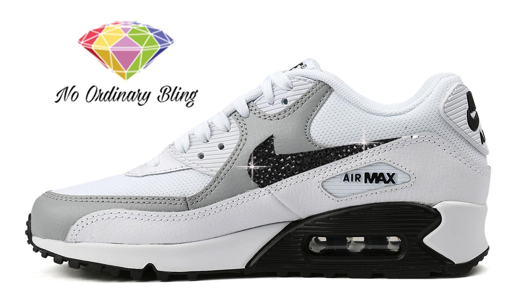 b2b98f2f0ee9 Black Bling Nike Air Max 90 Women s White Grey Blk Swoosh -  NoOrdinaryBling