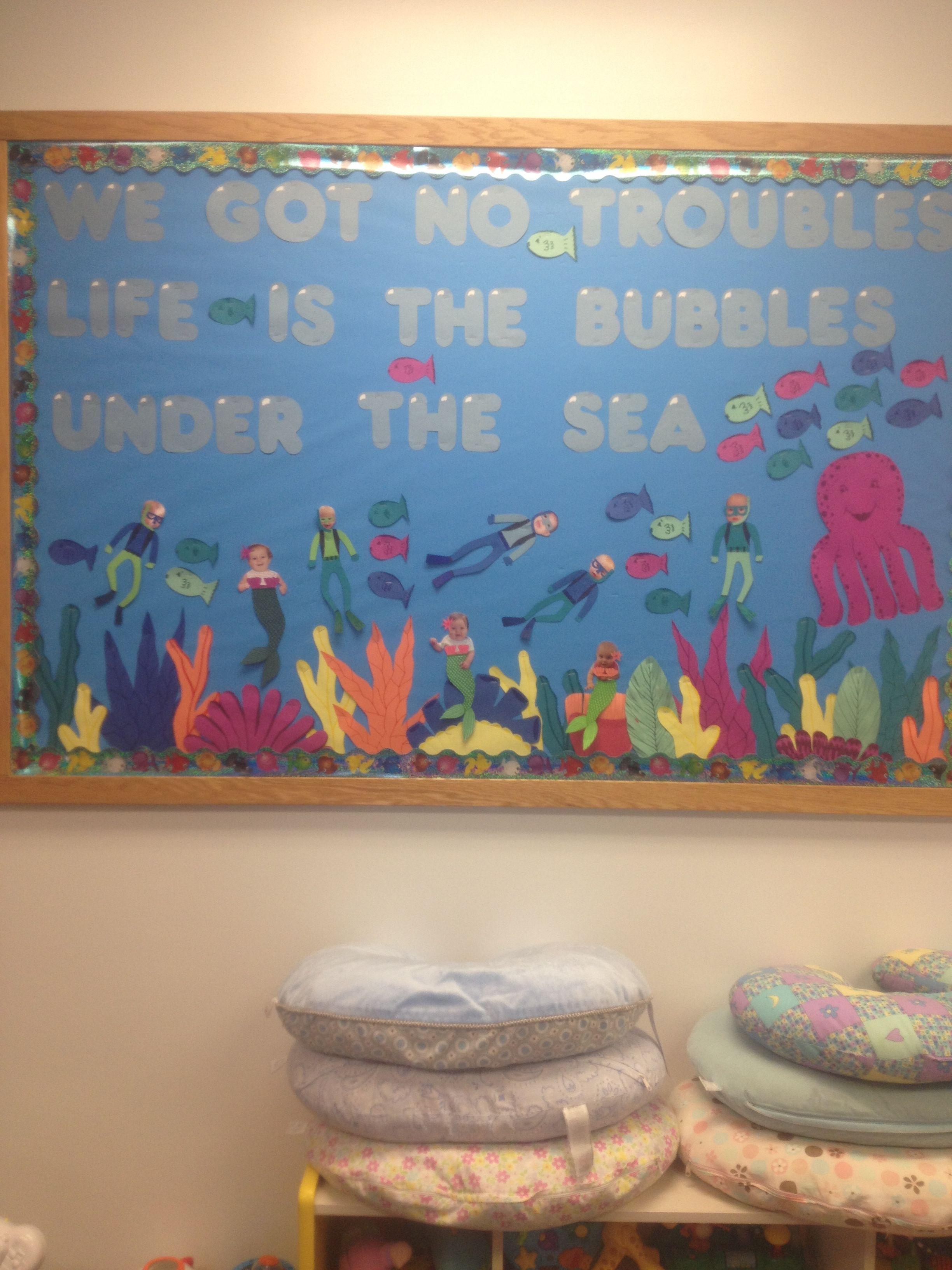Under The Sea Themed Bulletin Board Girls In Class As Mermaids Boys As Scuba Divers Use