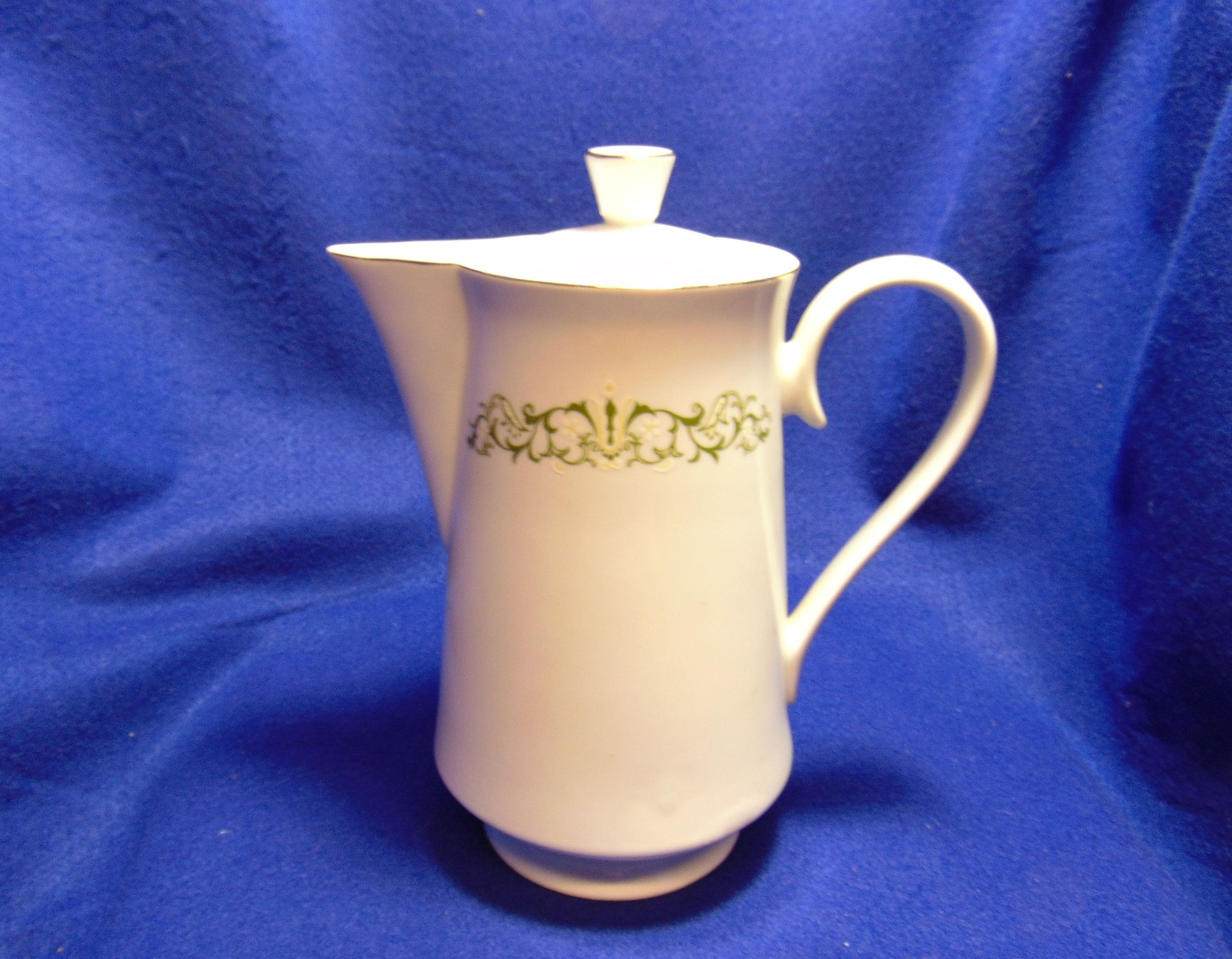 Bell Flower Coffee Server With Lid - Fine China - Made In Japan - 2999 - Gold Trim - Green Scroll Design #coffeeserver