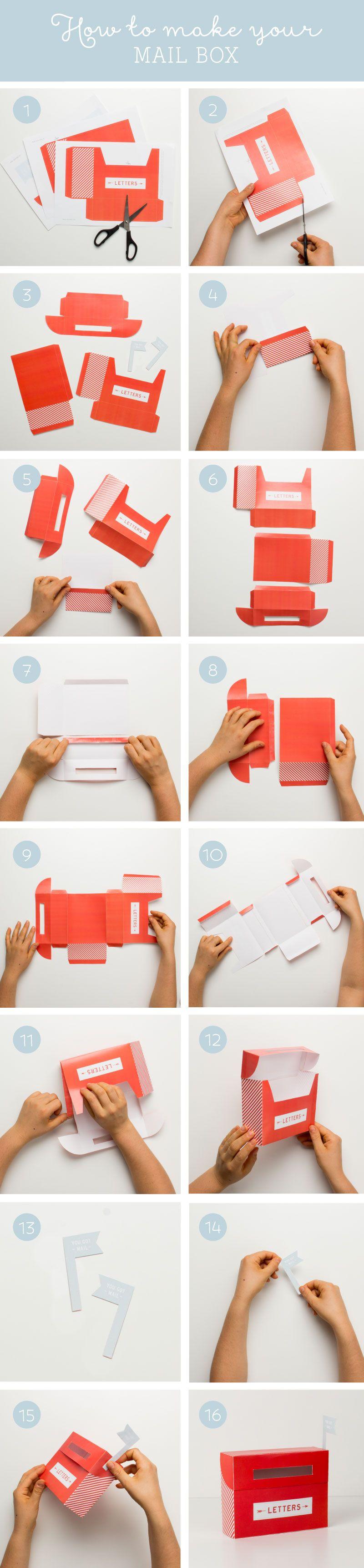 Free Mail Box Printables Tinyme Blog Paper Box Diy Diy Gifts Paper Paper Box Tutorial