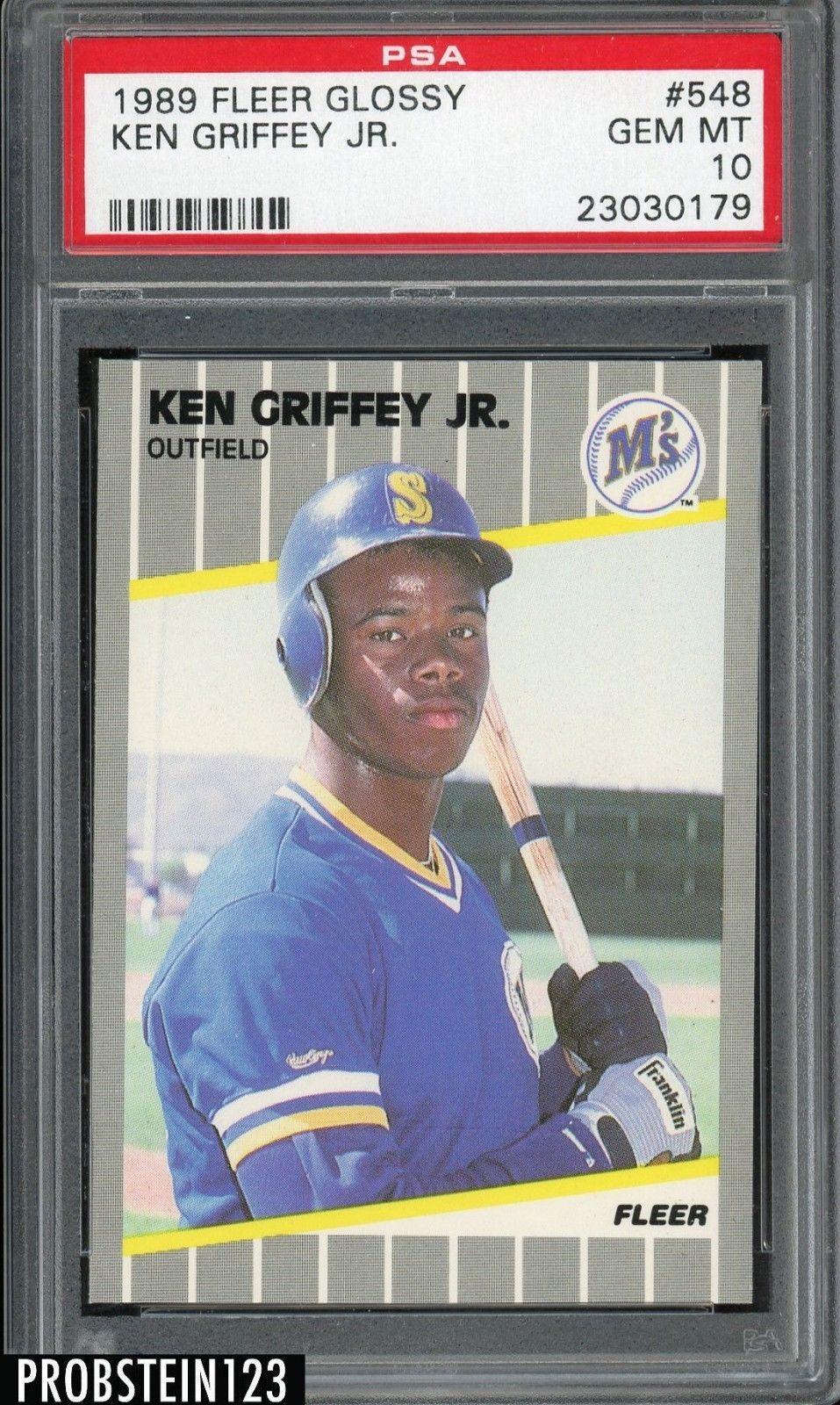 d2a4730b20 1989 Fleer Glossy #548 Ken Griffey Jr. Mariners RC Rookie HOF PSA 10