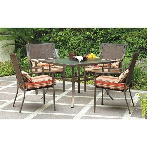 How Much Does Mainstays Alexandra Square Patio Dining Set, Red Stripe With  Butterflies, Seats 4 Cost?