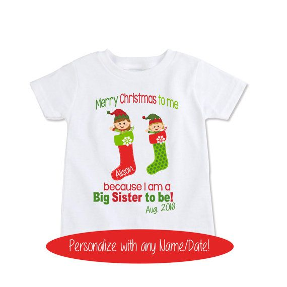 Christmas Big Sister Shirt Sister Announcement Shirt Big By Exit17