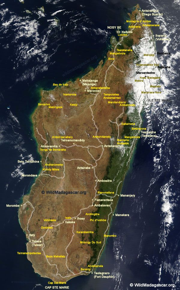 Madagascar satellite map with parks, cities, and roads