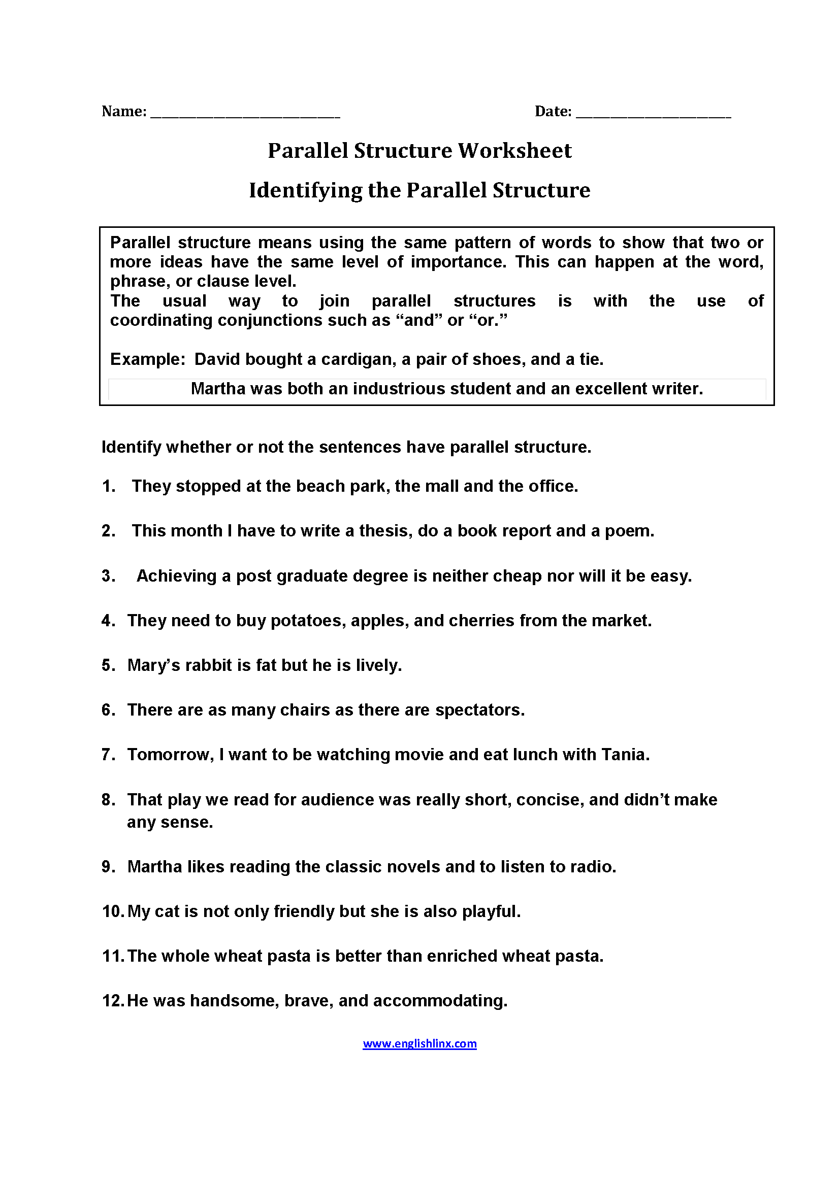 Identifying Parallel Structure Worksheets