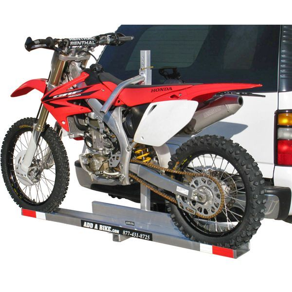 Add A Bike Hauler Hitch Mounted Dirt Bike Carrier Discountramps Com Motorcycle Carrier Motorcycle Trailer Trailer Carrier