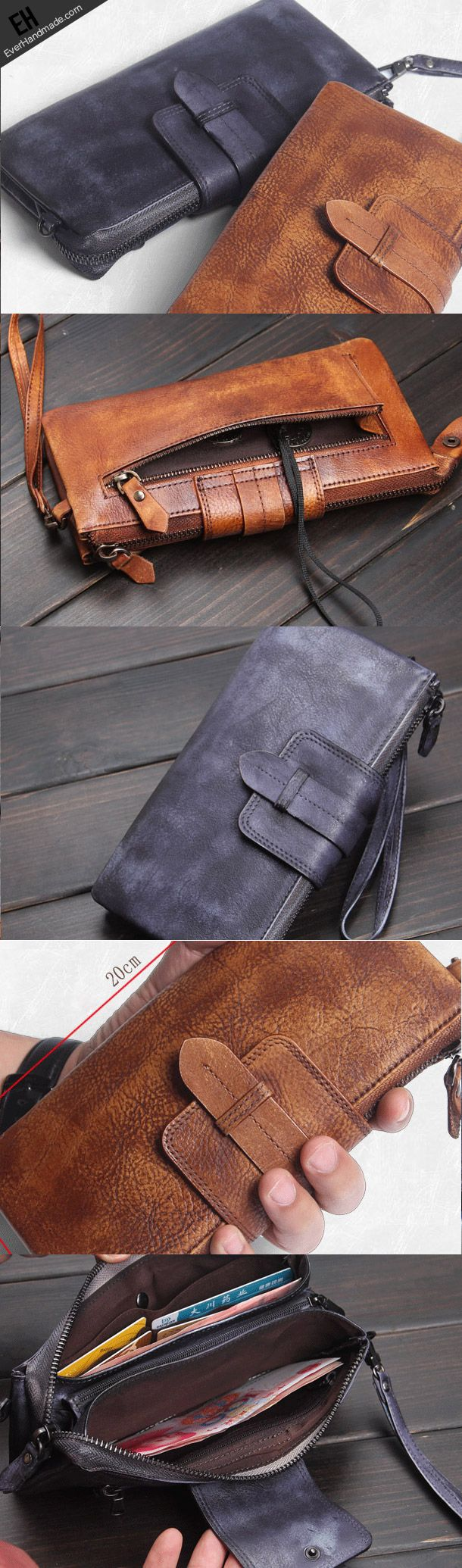 Handmade men long leather wallet clutch men bifold vintage gray brown long wallet for him #leatherwallets
