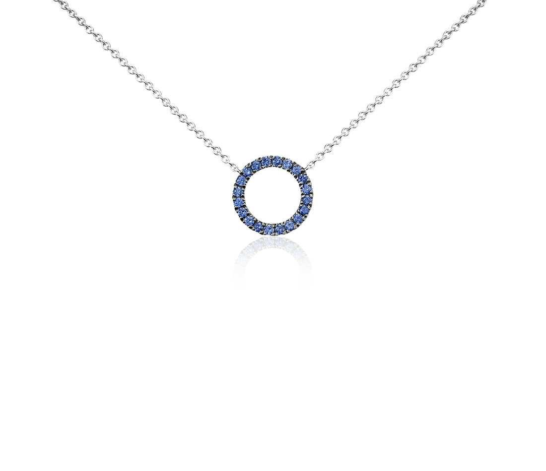 Mini sapphire circle pendant in 14k white gold 1mm white gold mini sapphire circle pendant in 14k white gold bluenile jewelry style aloadofball Image collections