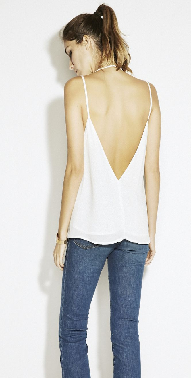 double spaghetti strap camisole with a low V in the front and in the back.