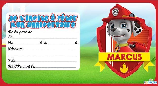 Invitation Anniversaire Marcus De Pat Patrouille Carte Anniv