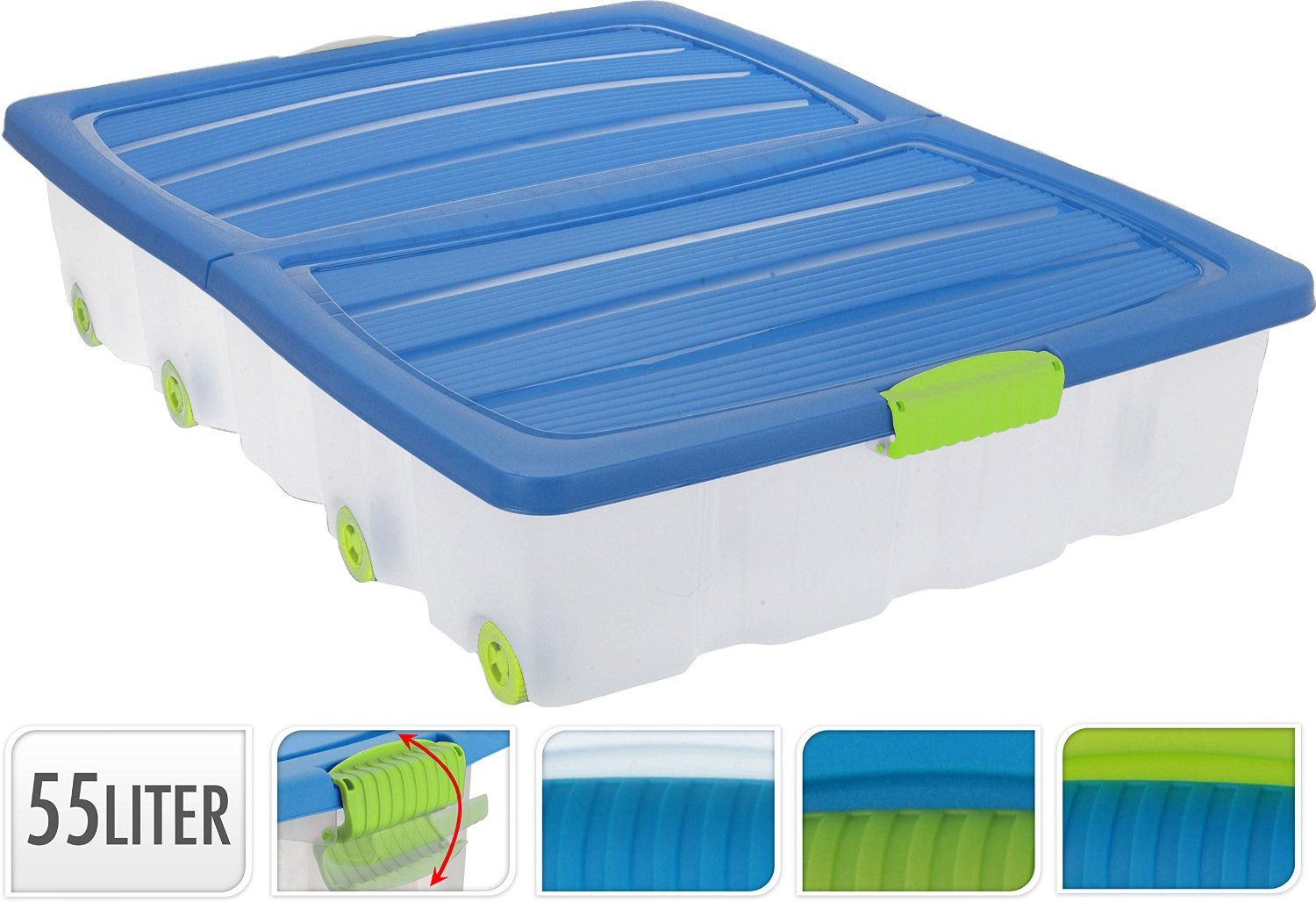 PACK OF 2   55L LARGE UNDERBED PLASTIC WHEELED STORAGE BOX CONTAINER WITH  FOLDING LID: