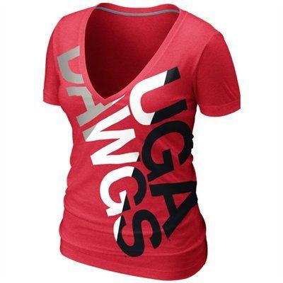 Nike Georgia Bulldogs Ladies Deep V Blended T-Shirt - Red 45fb14fdc