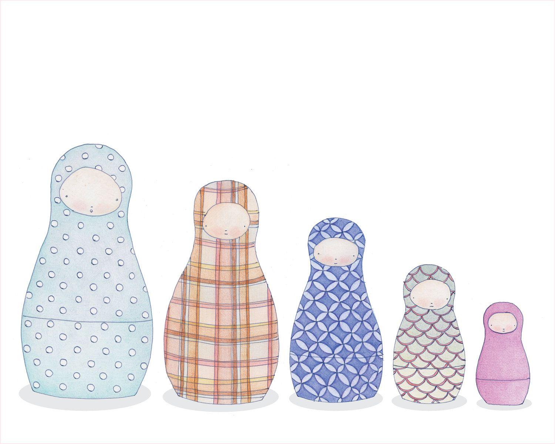 The Nesting Dolls 8x10 Art Print 12 00 Via Etsy