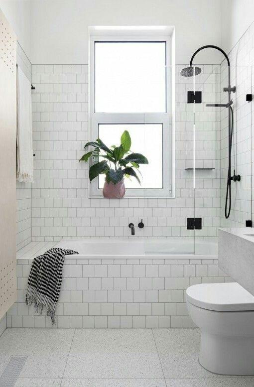 Bright white bathroom bathroom Pinterest Tub shower combo