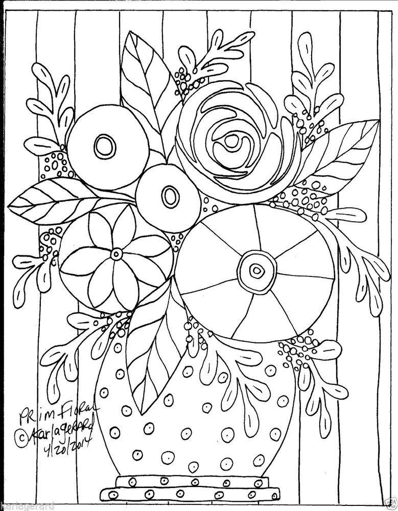 rug hooking paper pattern prim floral folk art abstract