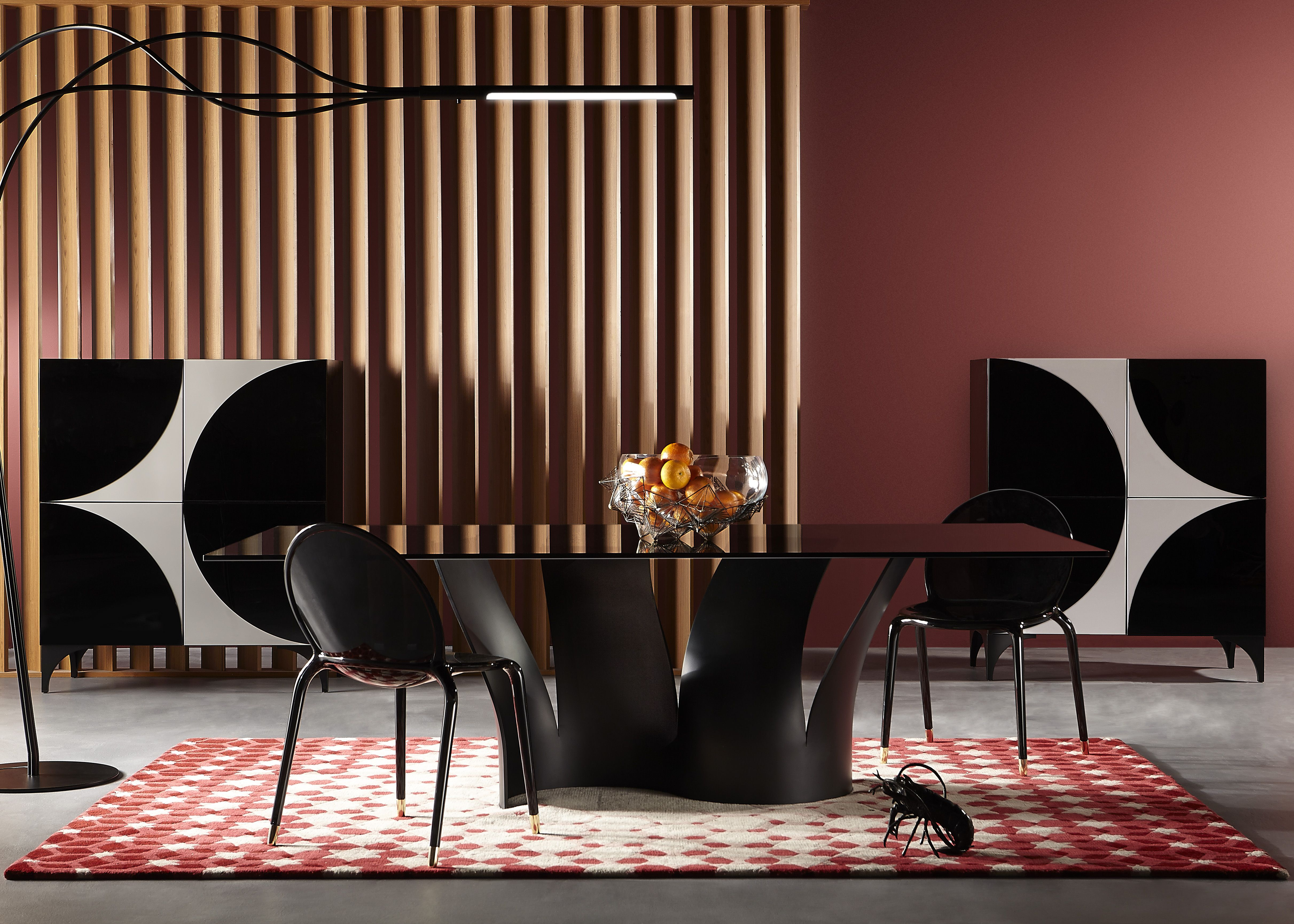 Roche Bobois - VOILES dining table, marsala coloured living room ...