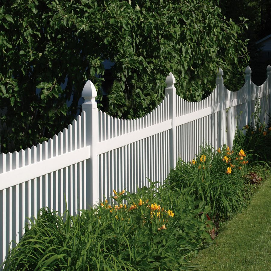 Shop Barrette Elite Keswick Scallop 4 Ft X 8 Ft White Scalloped Picket Vinyl Fence Panel At Lowes Com White Vinyl Fence Vinyl Picket Fence White Picket Fence