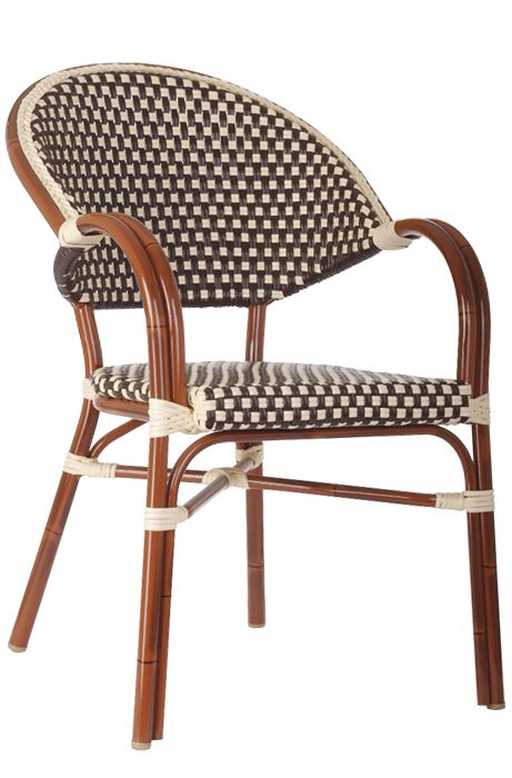 French Bistro Aluminum Rattan Arm Chair add two of these