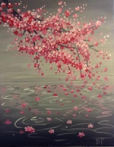 Cherry Blossom Reflection At Divine Restaurant Paint Nite Events Near Chester Va Blossoms Art Cherry Blossom Art Painting
