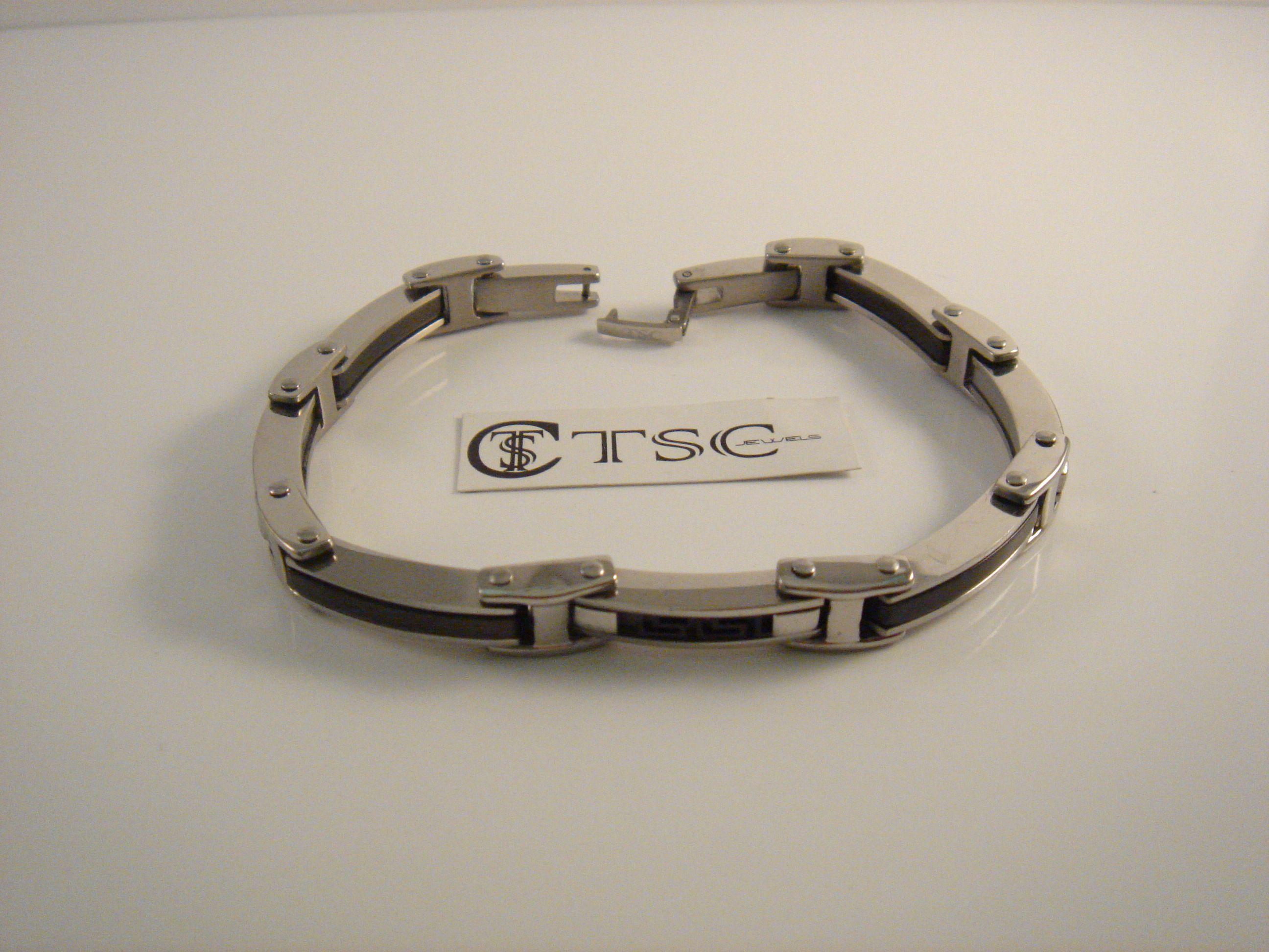 design senza tempo c1c4d 84b15 TSC Jewels Bracciale uomo con greca in acciaio nero | In ear ...