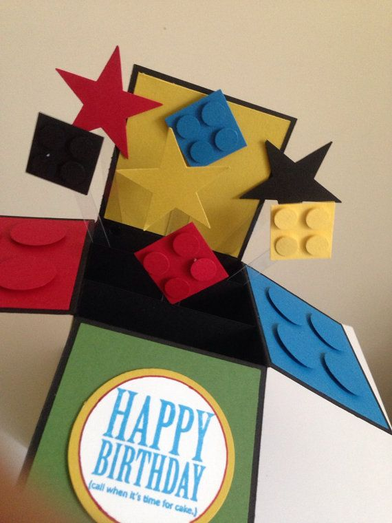 Handmade building blocks card in a box. This style of card is very popular nowadays. Makes a special fun card for all those lego lovers.They are