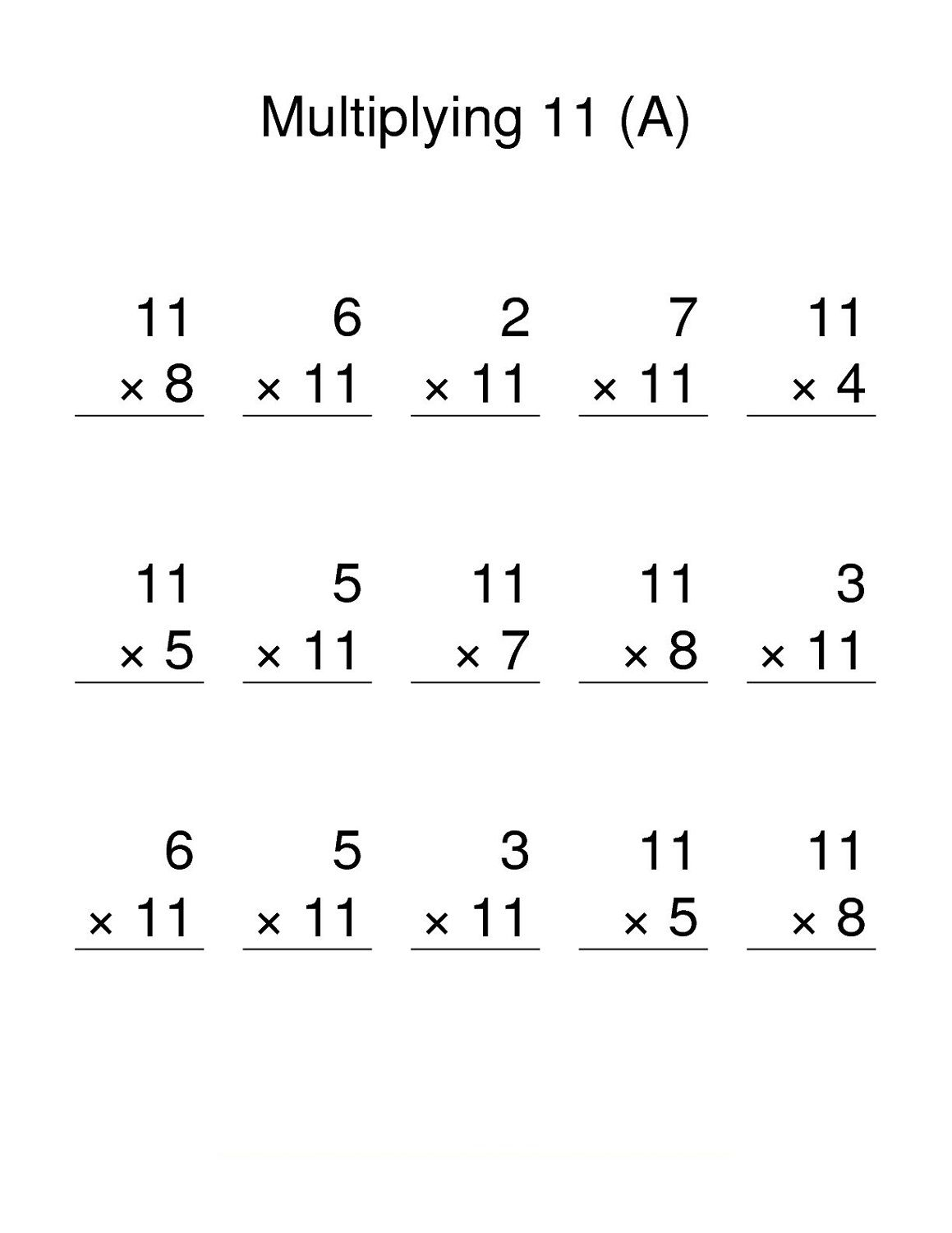 Free Printable 11 Times Table Worksheets In 2020 11 Times Table Times Tables Printable Math Worksheets