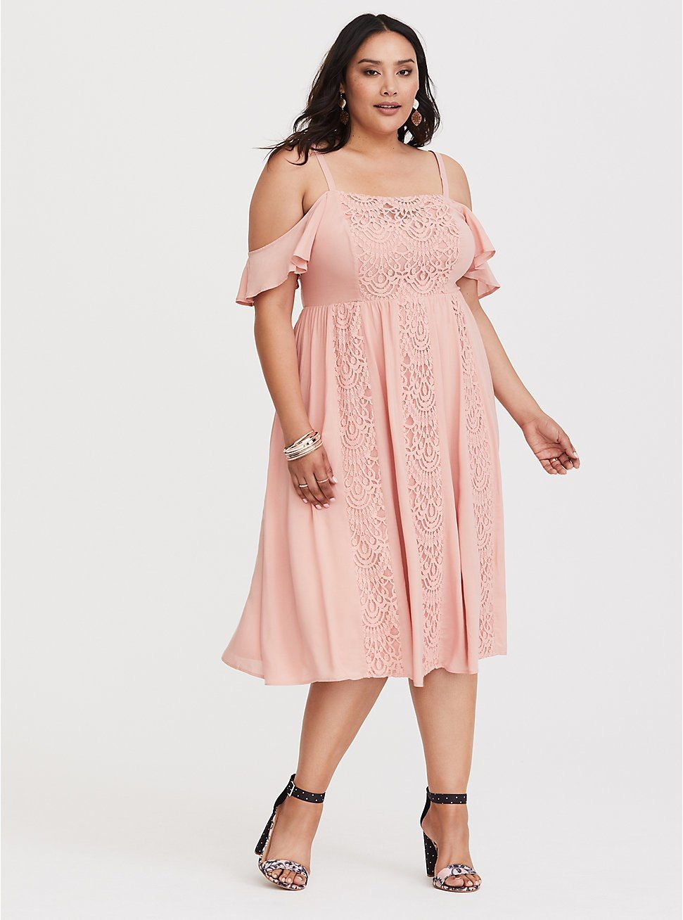 8aace0467e8 Pink Lace   Challis Midi Dress