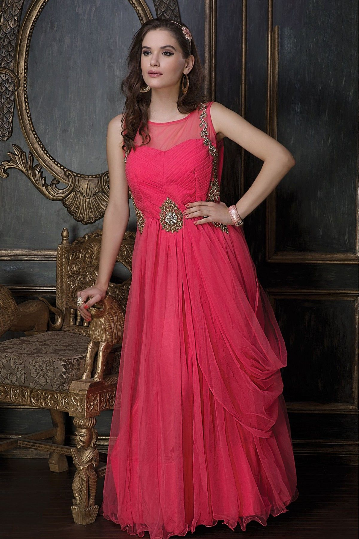 ba37613c3 Party Wear Net Embroidery Gown in Pink Colour