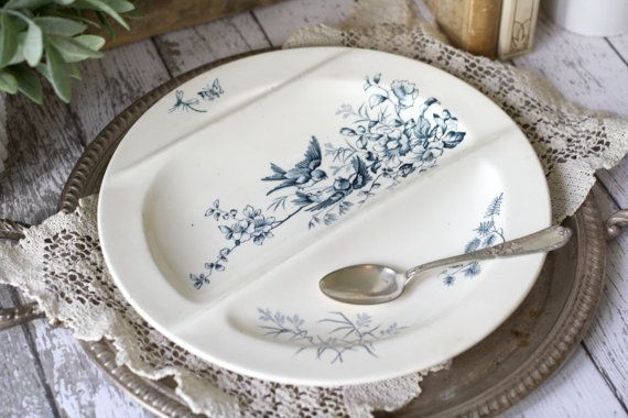 Antique French Divided Platter/Asparagus Plate  by graceandivy