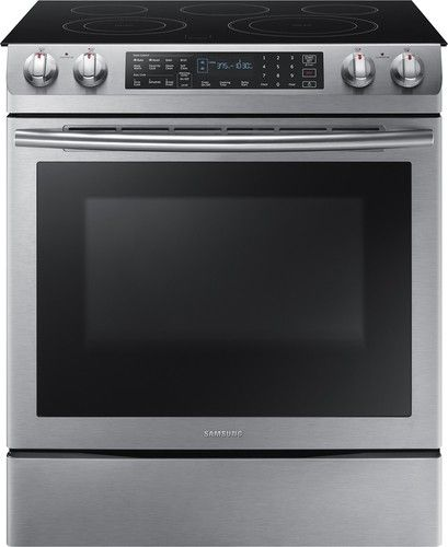 Samsung 5 8 Cu Ft Electric Self Cleaning Slide In Range With Convection Stainless Steel Ne58k9430ss Best Buy Slide In Range Samsung Electric Range Electric Range