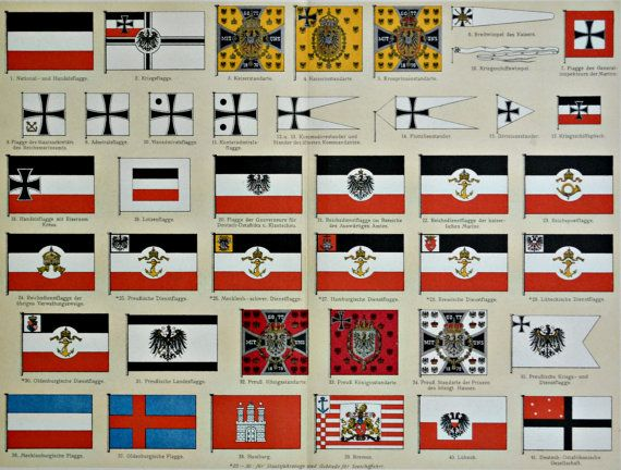 German Flags During The Early 1900 S History Engraving 1901 Print Old Book Plate 113 Years Lithograph 12 1 Flag Of The German Empire War Flag German Flag