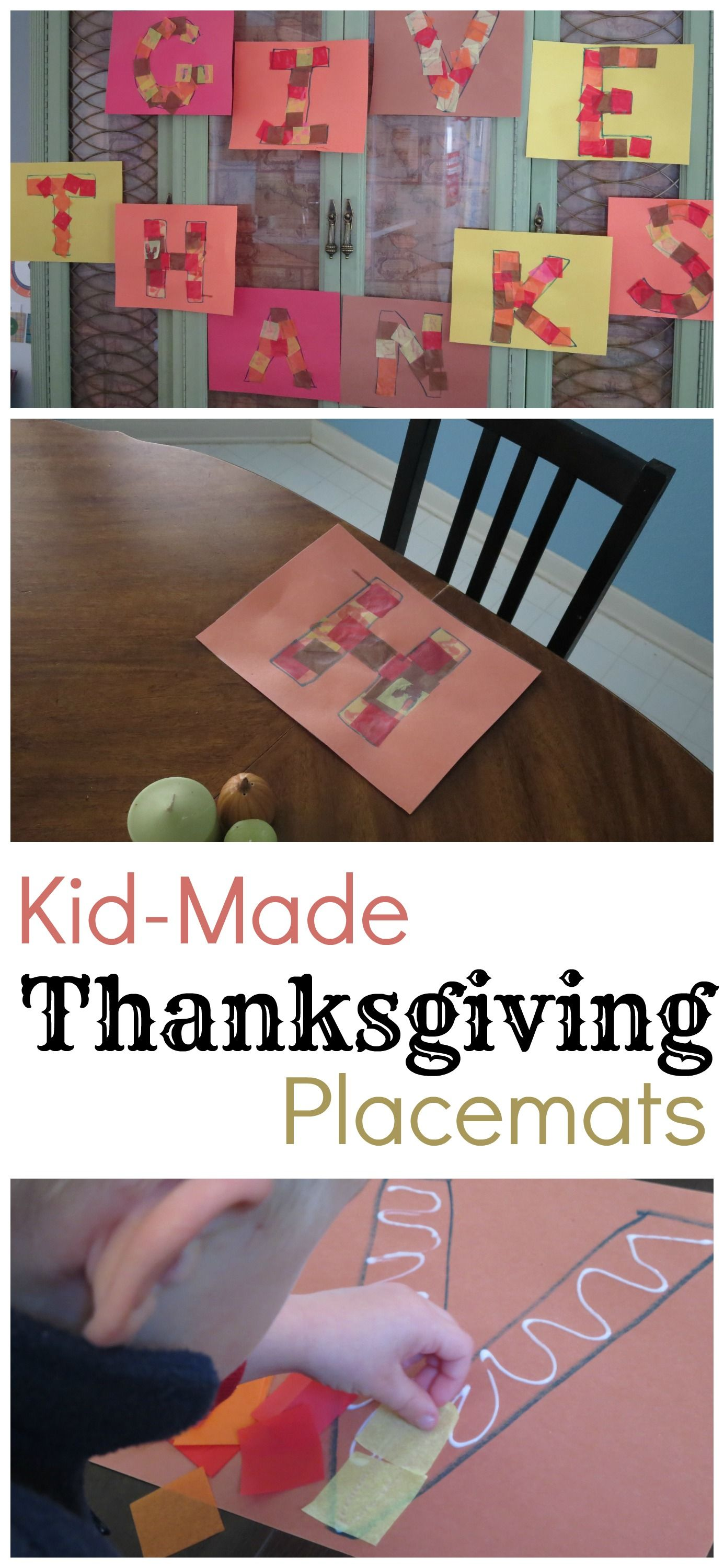 Kid Made Thanksgiving Placemats