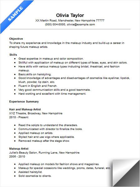 Makeup Artist Instructor Resume Sample Resume Examples - example of resume objective statement