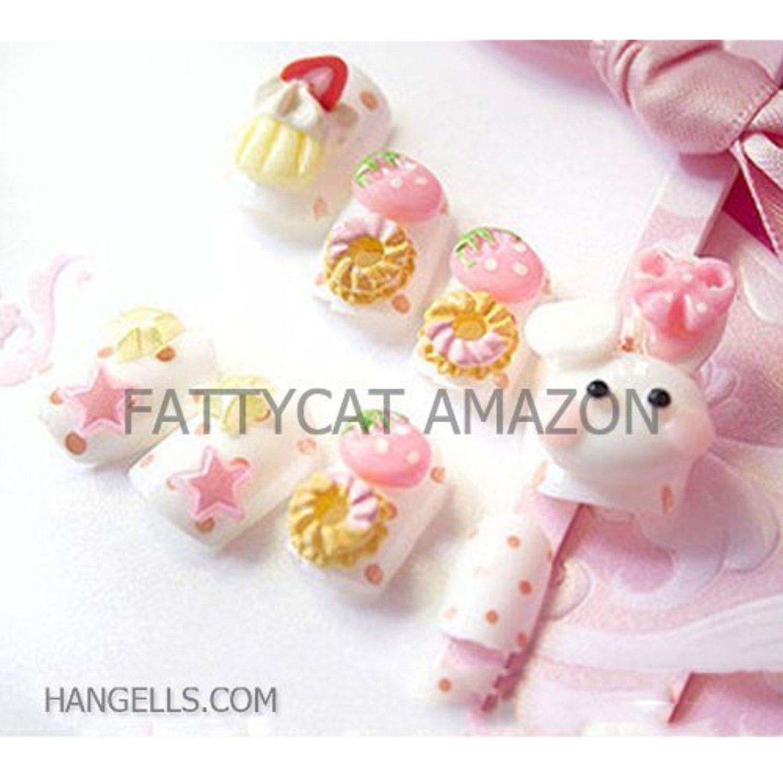Fashion Japanese 3d Nail Art Lady Small White Rabbit 24 Nails Sold