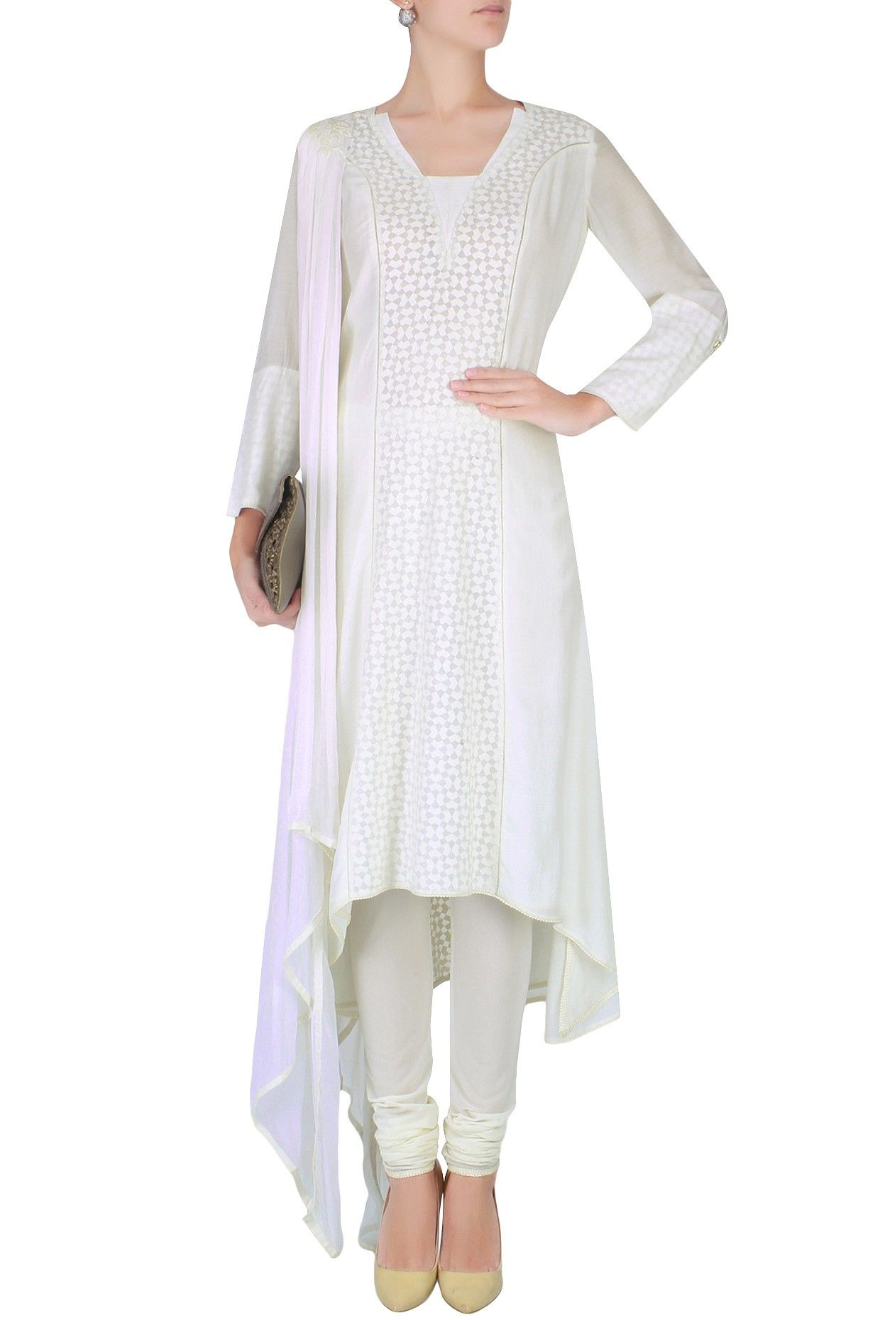 Ivory floral applique work kurta set with attached draped dupatta available only at Pernia's Pop Up Shop.