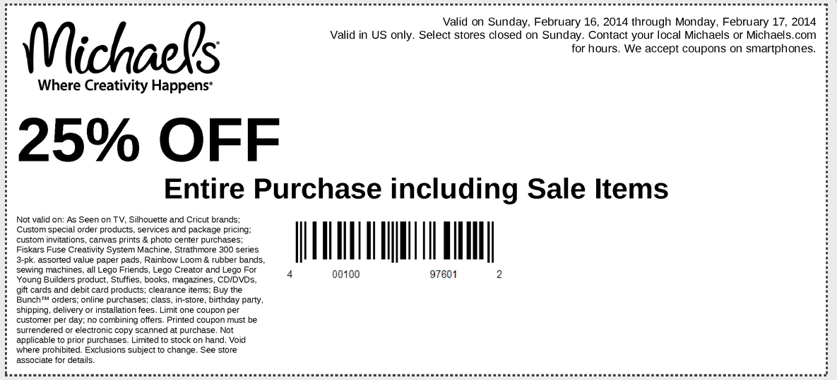 Michaels, Joanns, Hobby Lobby and AC Moore Coupons+New