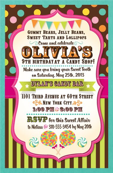If you are planning a candy themed birthday party at a candy shop if you are planning a candy themed birthday party at a candy shop this year then this custom candy party birthday invitation is the perfect choice filmwisefo