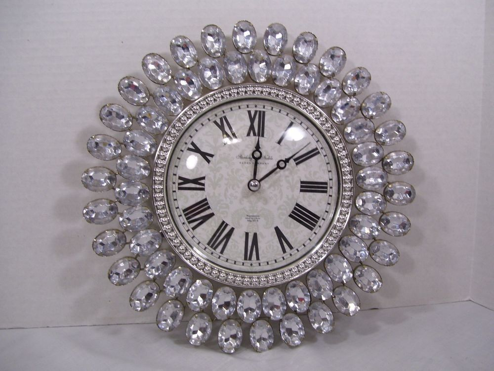 sterling and noble wall clock faux clear sparkly gems on wall clocks battery operated id=36974