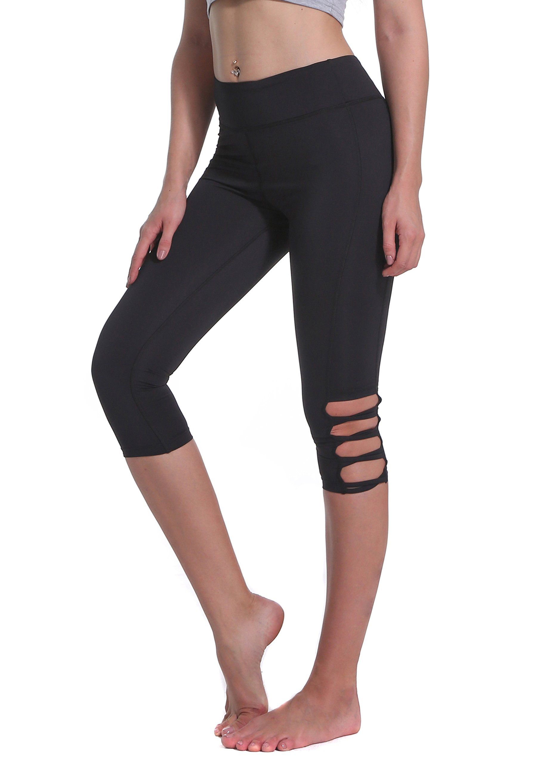 da7f4607d2686 Basherry Women's Crisscross Cutout Capris Leggings Skinny Yoga Pants with Hidden  Pocket,Black 1,